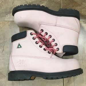 Moxie Trades Shoes - Moxie Pink Composite Toe Leather Work Boots 9.5